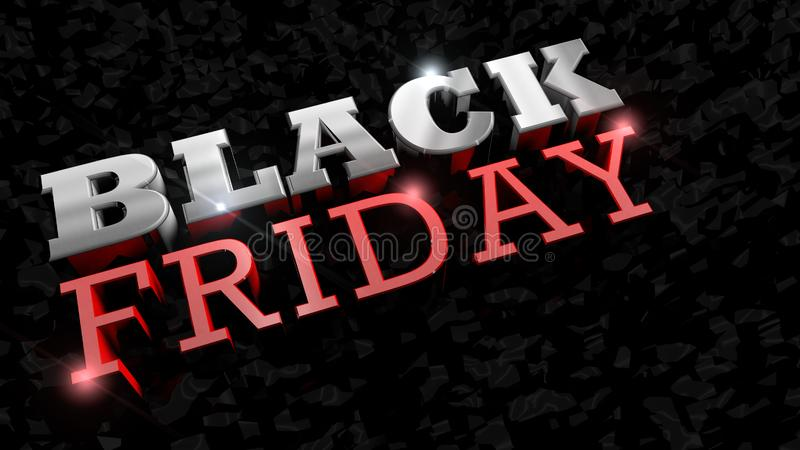 Close up of BLACK FRIDAY lettering. Glossy thick letters in white and red on a black texture. 3D Illustration. Close up of BLACK FRIDAY lettering. Glossy thick vector illustration