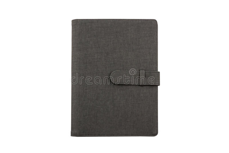 Close up Black leather case on white background. stock photo
