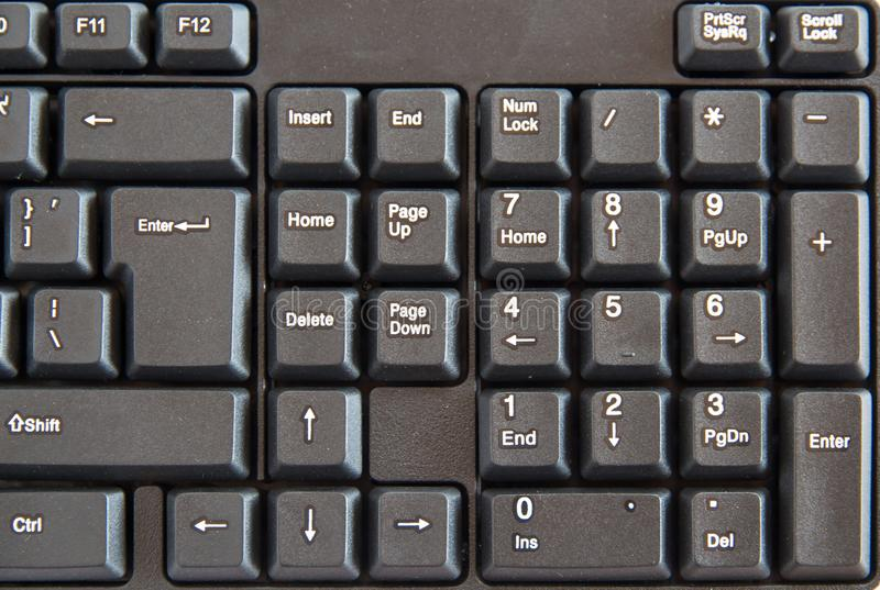 The Close-up of black PC keyboard with selective focus button. Close-up of black PC keyboard with selective focus button royalty free stock image