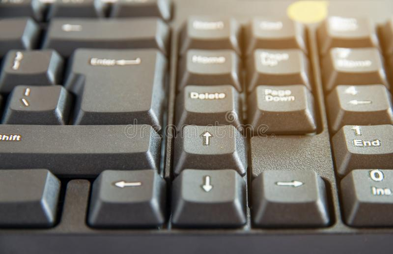 The Close-up of black PC keyboard with selective focus button. Close-up of black PC keyboard with selective focus button stock photos