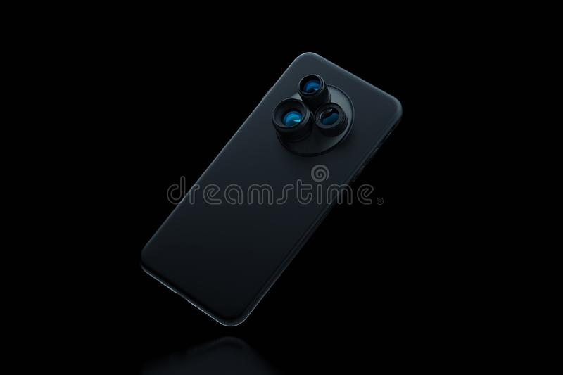 Black modern mobile phone with three cameras on black background. 3d rendering. stock illustration