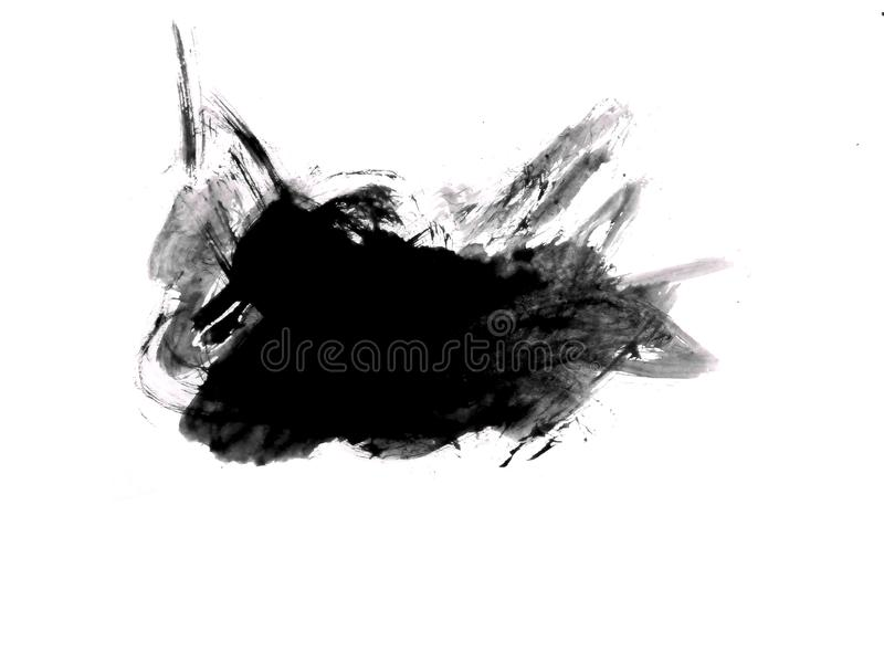 Close up of black watercolor hand painting on paper white background. For work of you royalty free illustration
