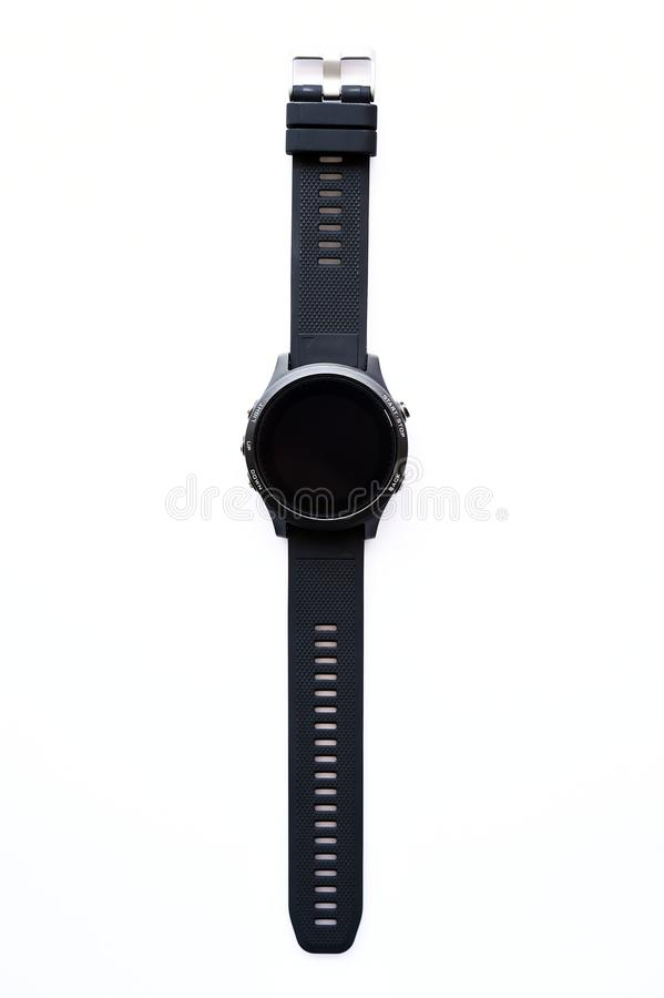 Close up of black wristwatches stock images
