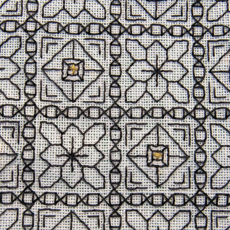 Close-up of Blackwork embroidery with gold highlights stock images