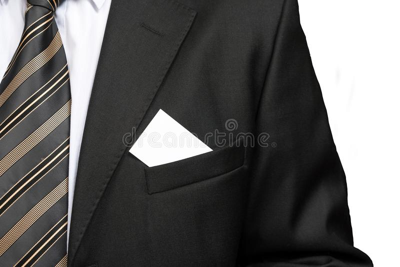 Close up with blank business card in business man suit jacket pocket. stock photography