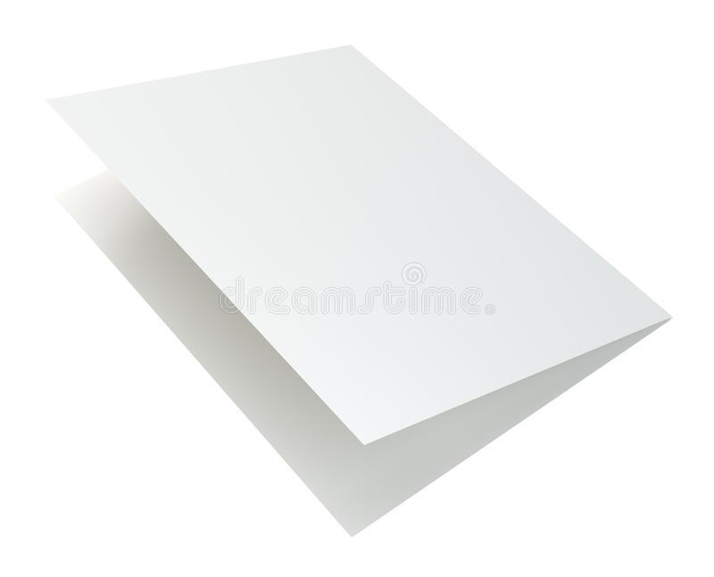 Close up of blank folded leaflet. 3d rendering isolated on white background.  royalty free illustration