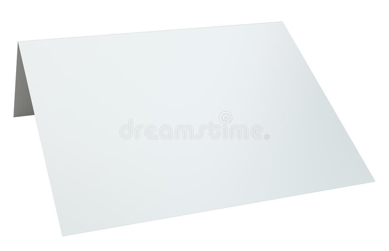 Close up of blank folded leaflet. 3d rendering isolated on white background.  stock illustration