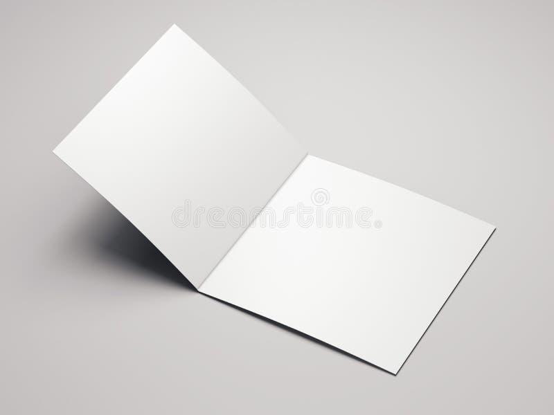 Close up of blank white leaflet on light background, 3d rendering. Close up of blank open white leaflet on light background, 3d rendering vector illustration