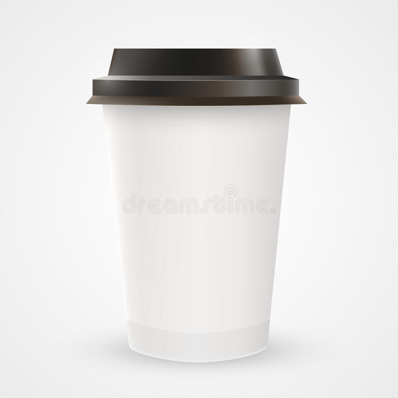 Close up of blank paper coffee cup royalty free illustration