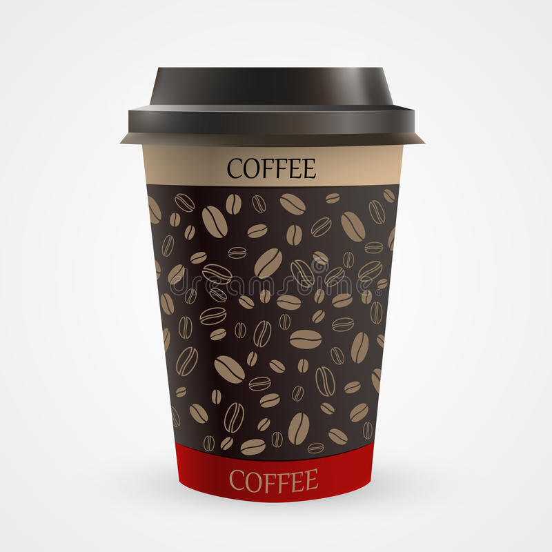 Close up of blank paper coffee cup. Vector illustration vector illustration