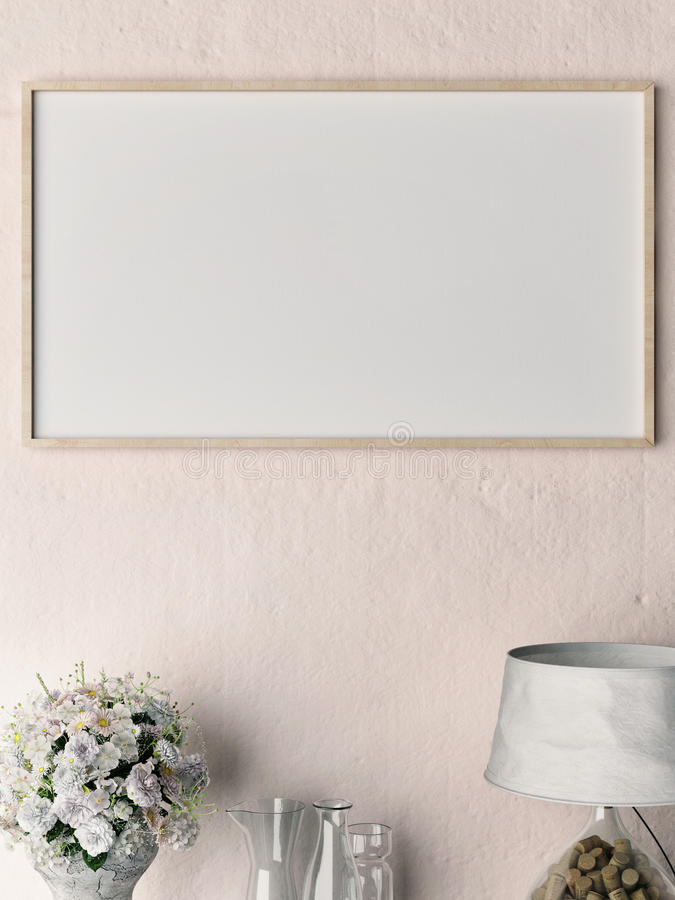 Close up blank poster on rose plaster wall. 3d illustration stock illustration