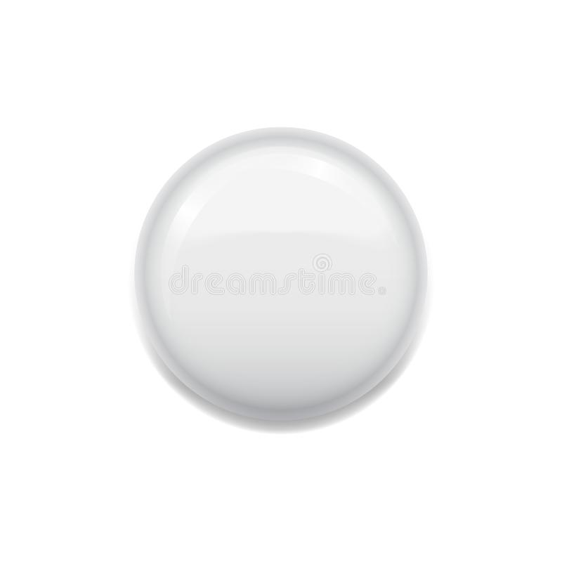 Blank white badge on white vector illustration