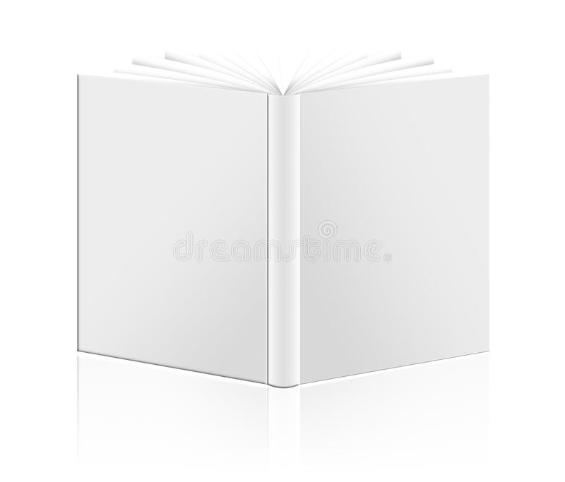 Close up of a blank white book on white background. With clipping path stock illustration