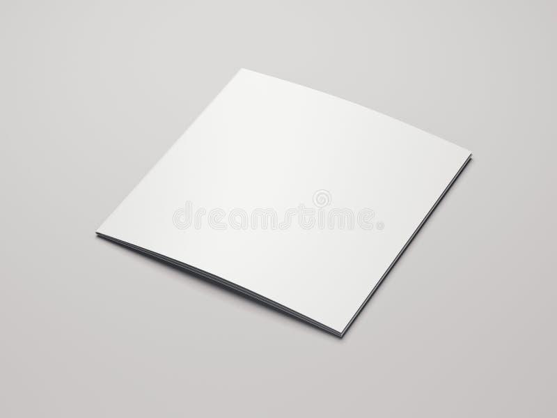 Close up of blank leaflet on light background, 3d rendering. Close up of blank white leaflet on light background, 3d rendering royalty free illustration