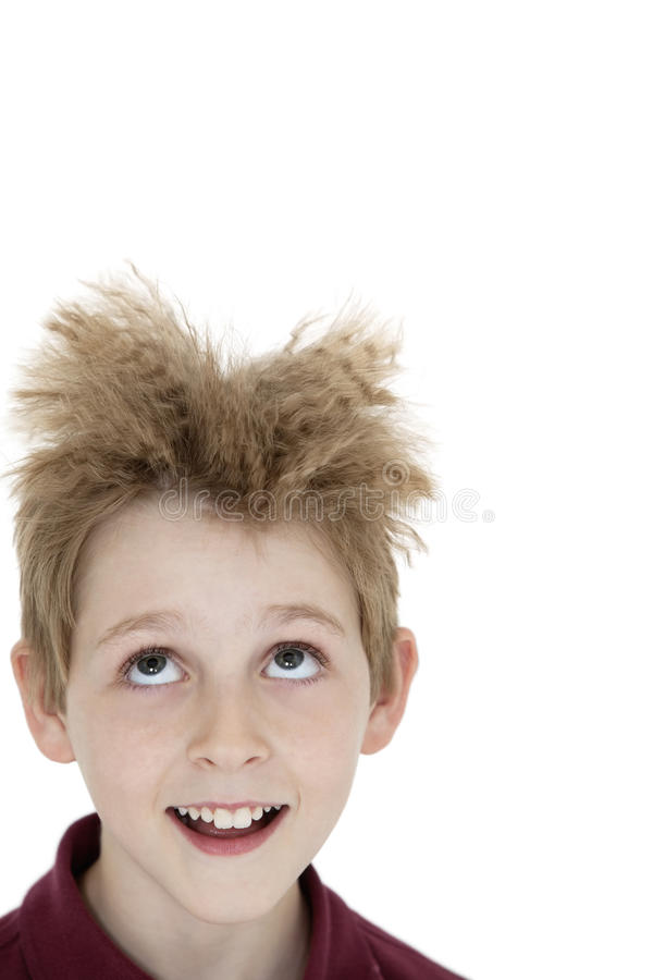 Download Close-up Of Blond Boy Looking Up Over White Background Royalty Free Stock Photography - Image: 29673897