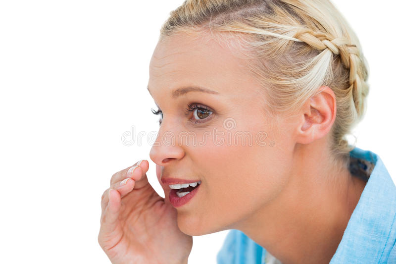 Download Close Up Of A Blonde Speaking To Someone And Looking At Somethin Stock Image - Image: 32233101