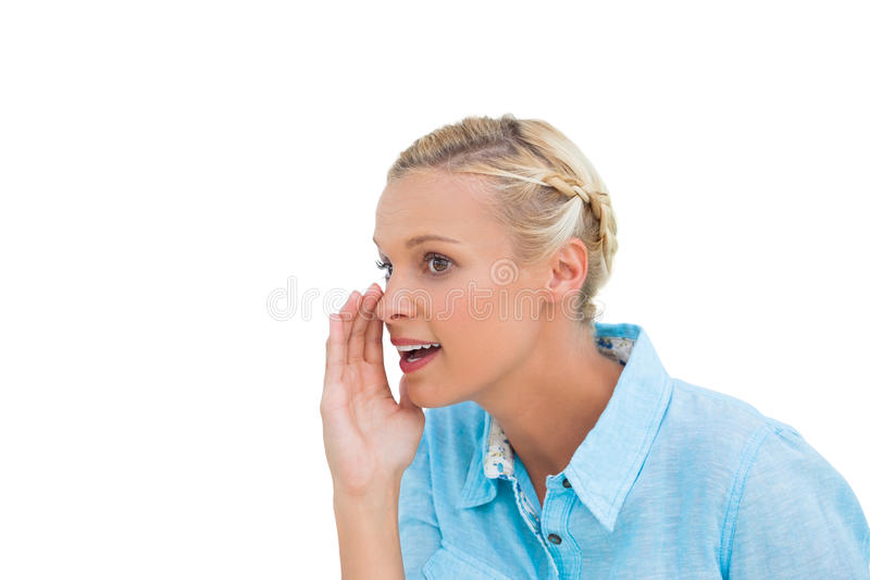 Download Close Up Of A Blonde Speaking To Someone And Looking At Something Stock Photo - Image: 32232620