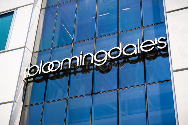 Close up of Bloomingdale`s department store logo. August 2, 2018 Palo Alto / CA / USA - Close up of Bloomingdale`s department store logo displayed at the store royalty free stock photo