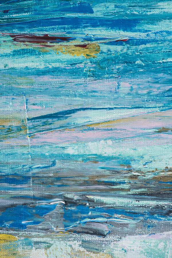 Close up of blue brush strokes of. Oil paint stock photos