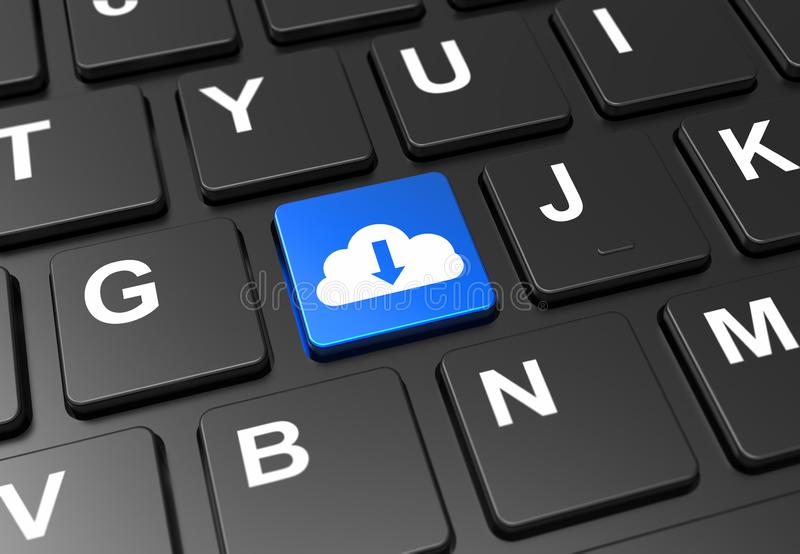 Close up blue button with cloud download sign on black keyboard stock illustration