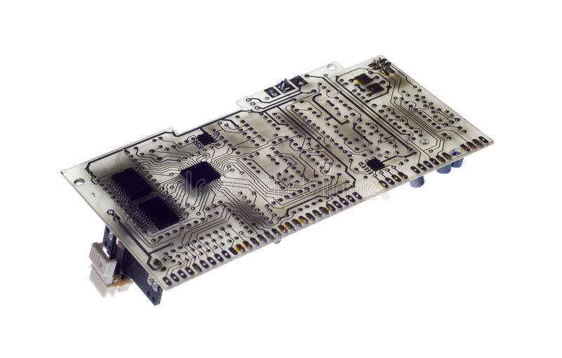 Close up of the blue circuit board.  stock image