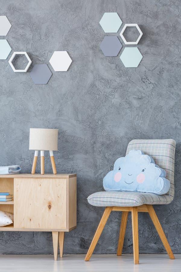 Grey kid`s room stock photo