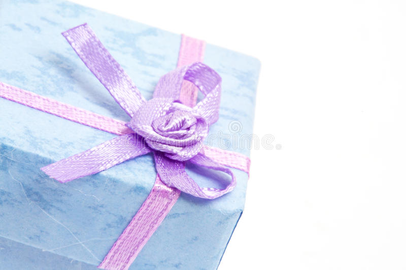 Download Close Up Of Blue Gift Box With Purple Ribbon Stock Image - Image: 29770529