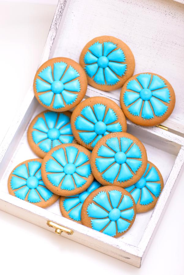 Close-up blue gingerbread cornflowers cookie stock images