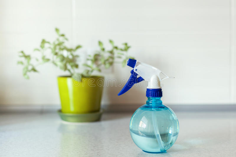 Close up of Blue round spray bottle and green flower on background. stock image