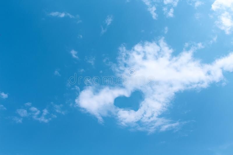Blue sky background , white clouds with heart shaped patterns floating in summer day , copy space. Close up Blue sky background , white clouds with heart shaped royalty free stock image