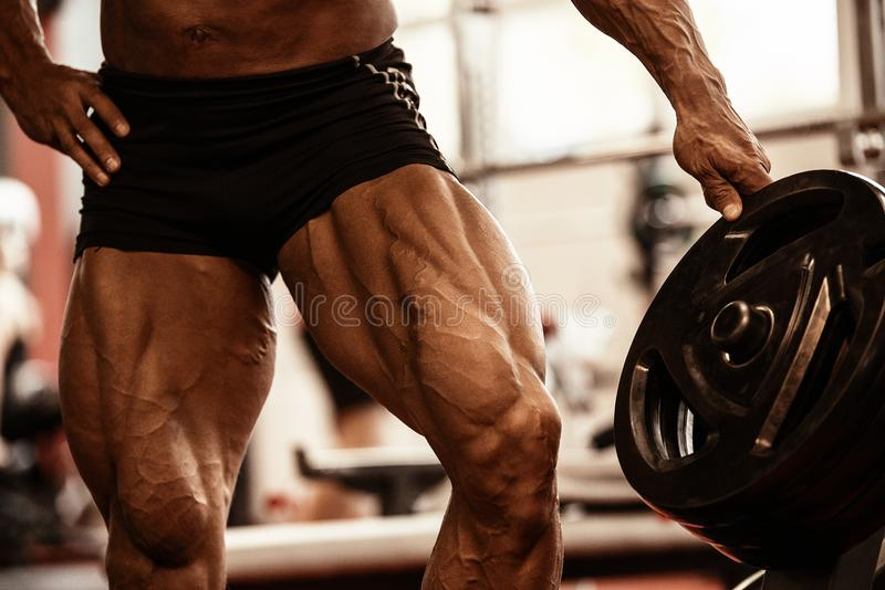 Close-up of bodybuilders muscular legs. Athlete man doing workout exercise in gym. royalty free stock photo
