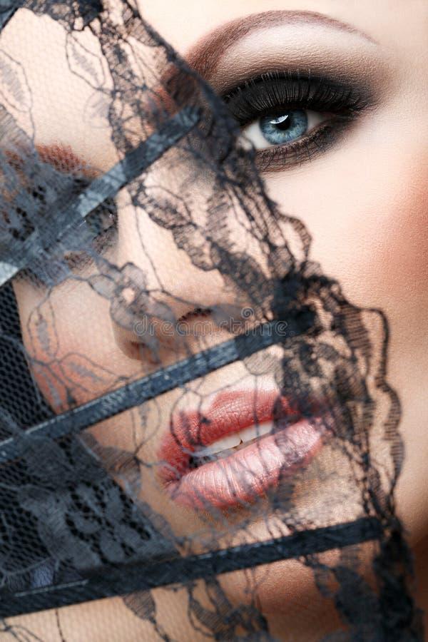 Close-up bonito da cara da mulher imagem de stock