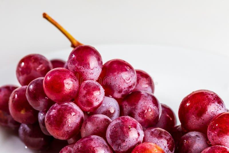 Close-up bonito do conjunto de tintas das uvas vermelhas na tabela fotografia de stock royalty free
