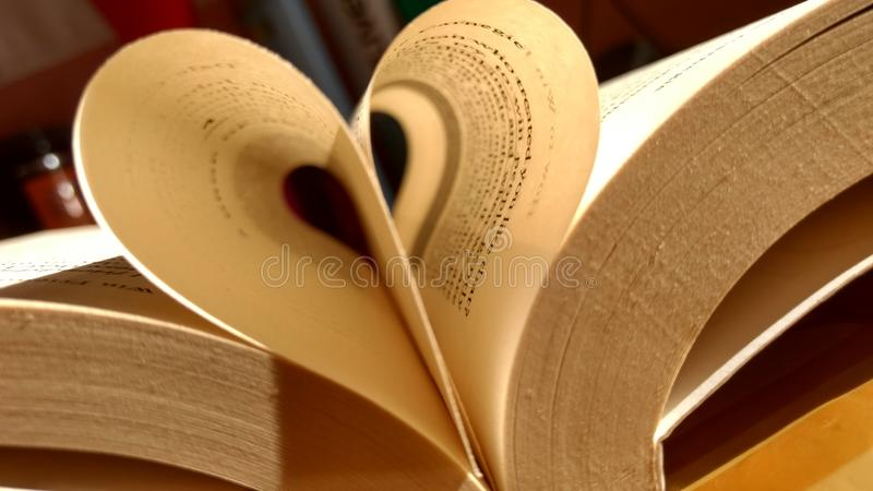 Close-up of the book opened, which the book sheet rolled into a heart shape selective focus and shallow depth of field.  stock photography