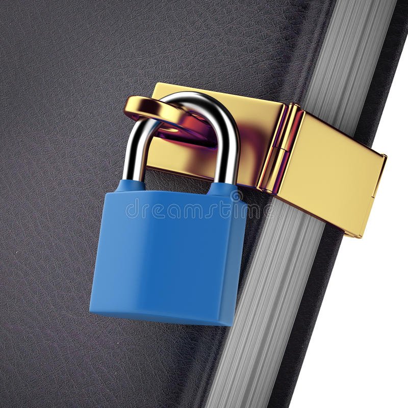 Close-up of book with padlock. On a white background. 3d render vector illustration
