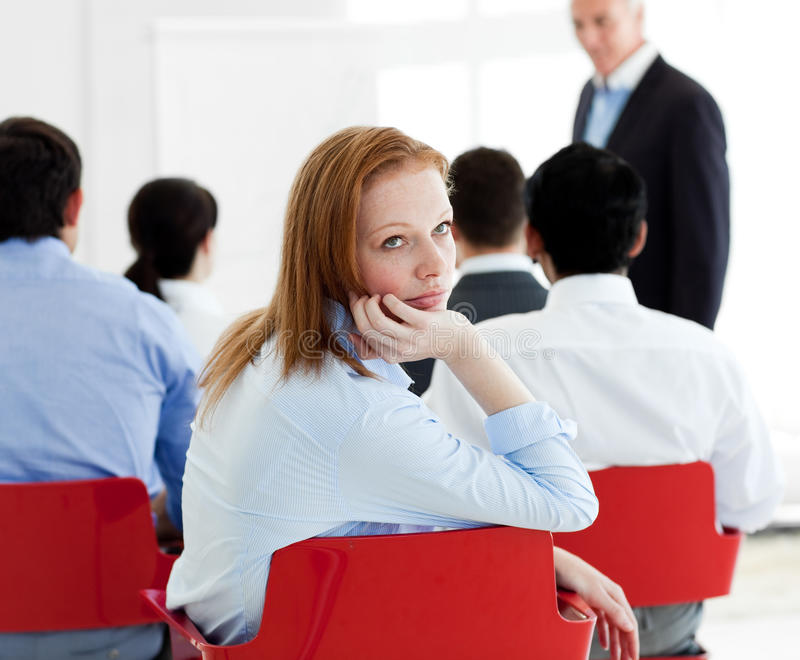Close-up of a bored businesswoman royalty free stock photography