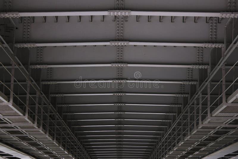 Close up construction of metal bridge details stock photography