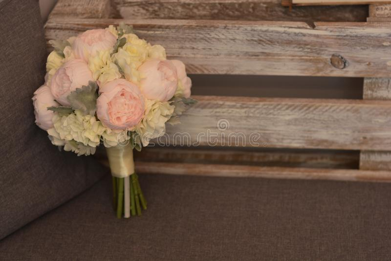 Close-up bouquet of flowers with peonies. Beautiful bridal, wedding flowers stock photo