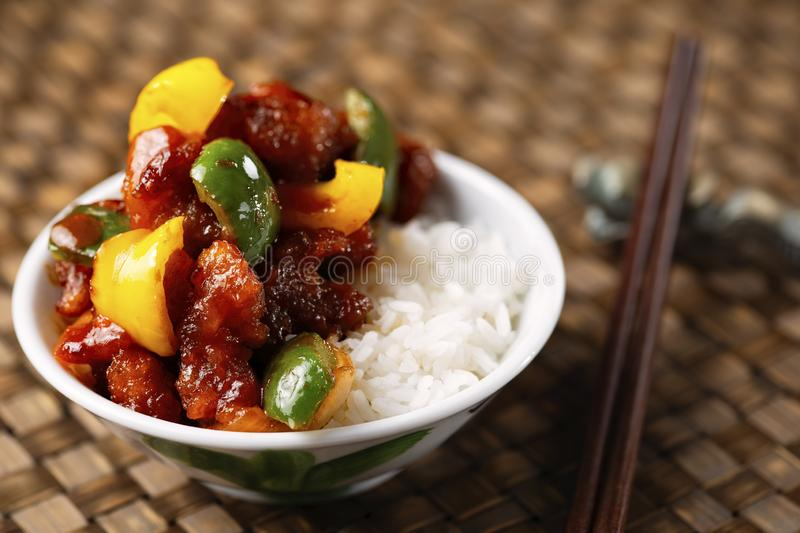 Chinese sweet and sour pork rice royalty free stock image