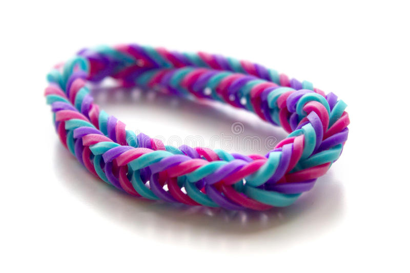 Close Up Of Bracelet Made With Rubber Bands Stock Photo