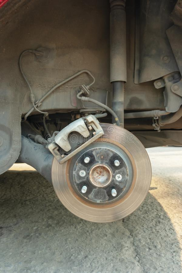 Close up of Brake Disc of the vehicle for repair. royalty free stock photography