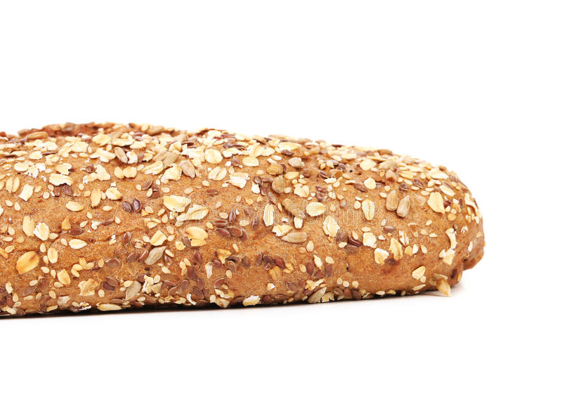 Close up of Bread made from whole grain. Bread made from whole grain. Isolated on a white background stock photos