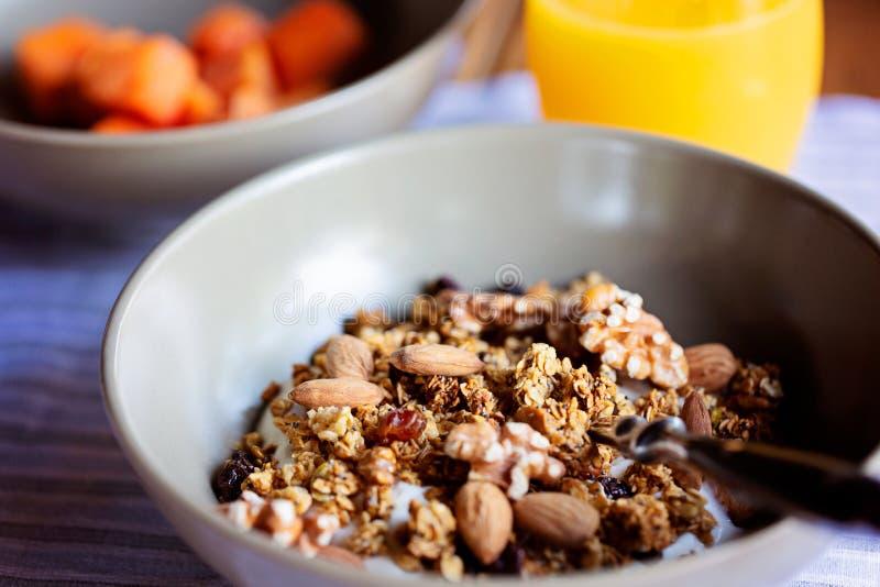 Close-up of breakfast granola stock image