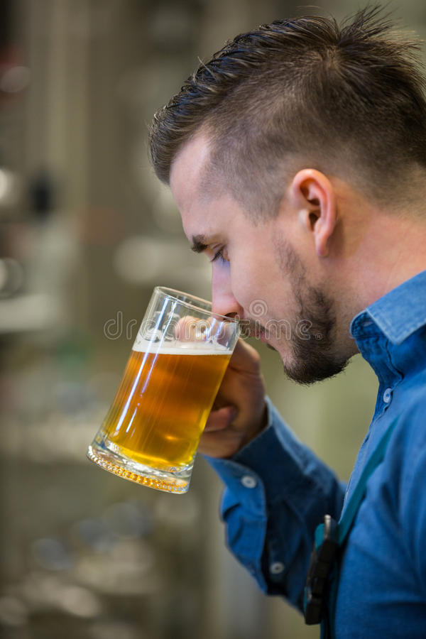 Close-up of brewer testing beer. At bewery stock photography