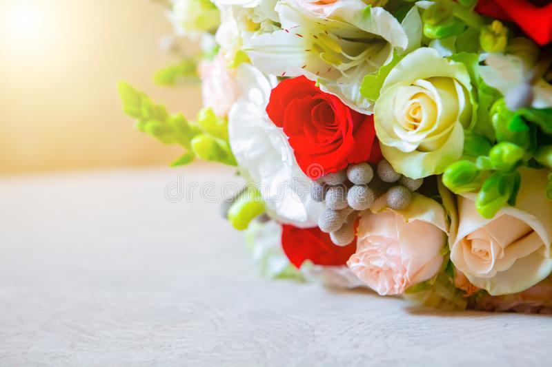Close-up of bridal bouquet of roses for wedding day. place for text. Wedding bride attributes. Wedding day decoration. married stock photography