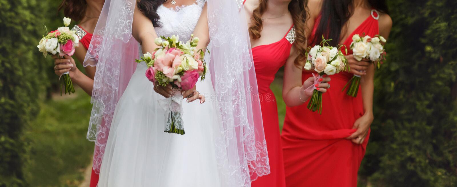 A close-up of bride and bridesmaids in pink dresses holding little wedding bouquets royalty free stock photography