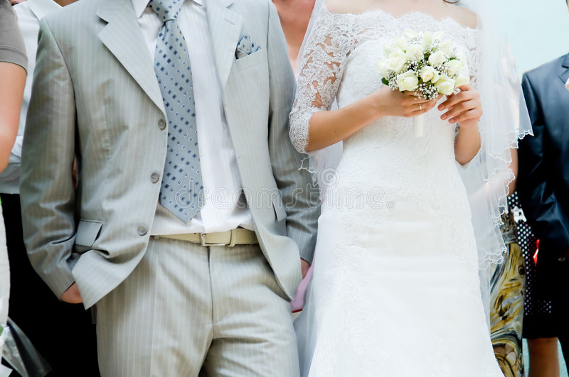 Close-up of bride and groom royalty free stock photo