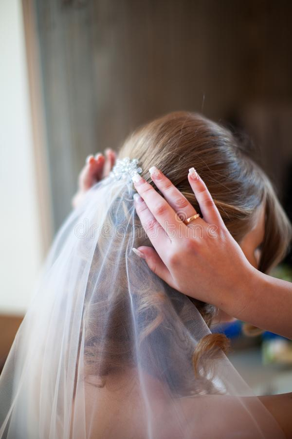 Close up bride straightens her hair with a veil, back view.  royalty free stock image