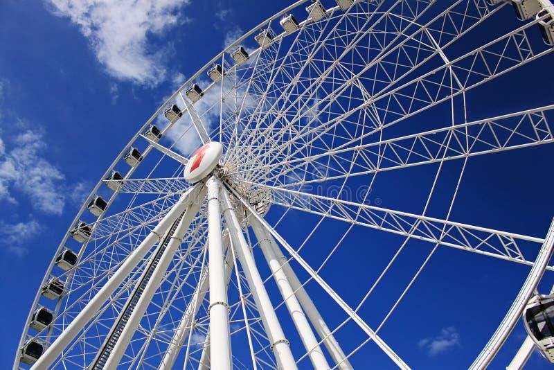 Close-up of Brisbane Wheel on sunny day, blue sky. 9.november 2011 royalty free stock images