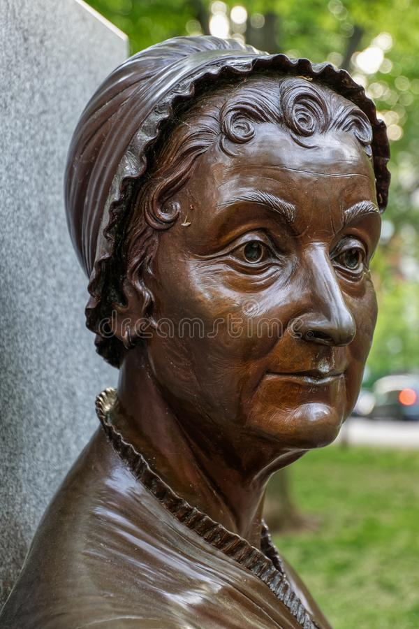 Close up of a bronze statue of Abigail Adams royalty free stock image